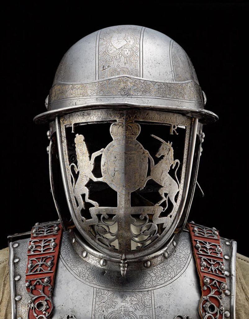 Close up of Jame II's helmet