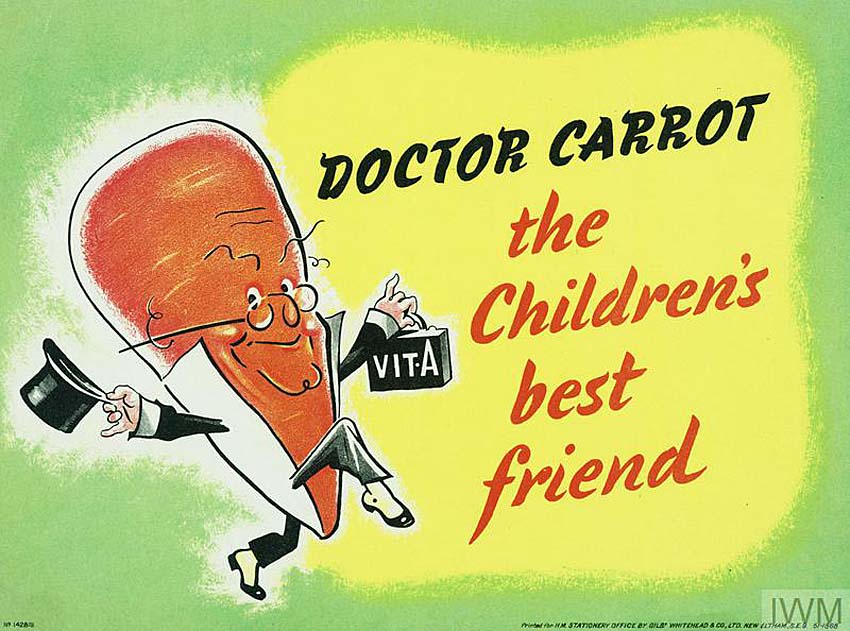 a poster with a smiling carrot character with a doctor's bag