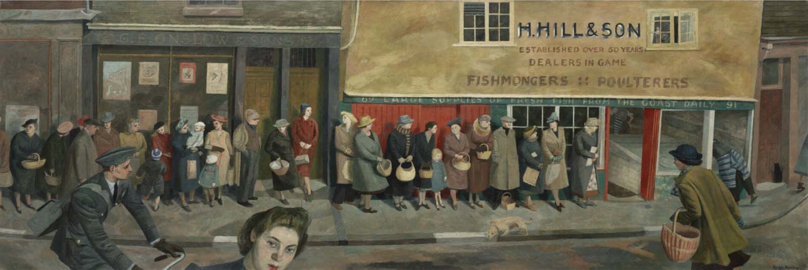 a painting of people queuing outside a fish shop