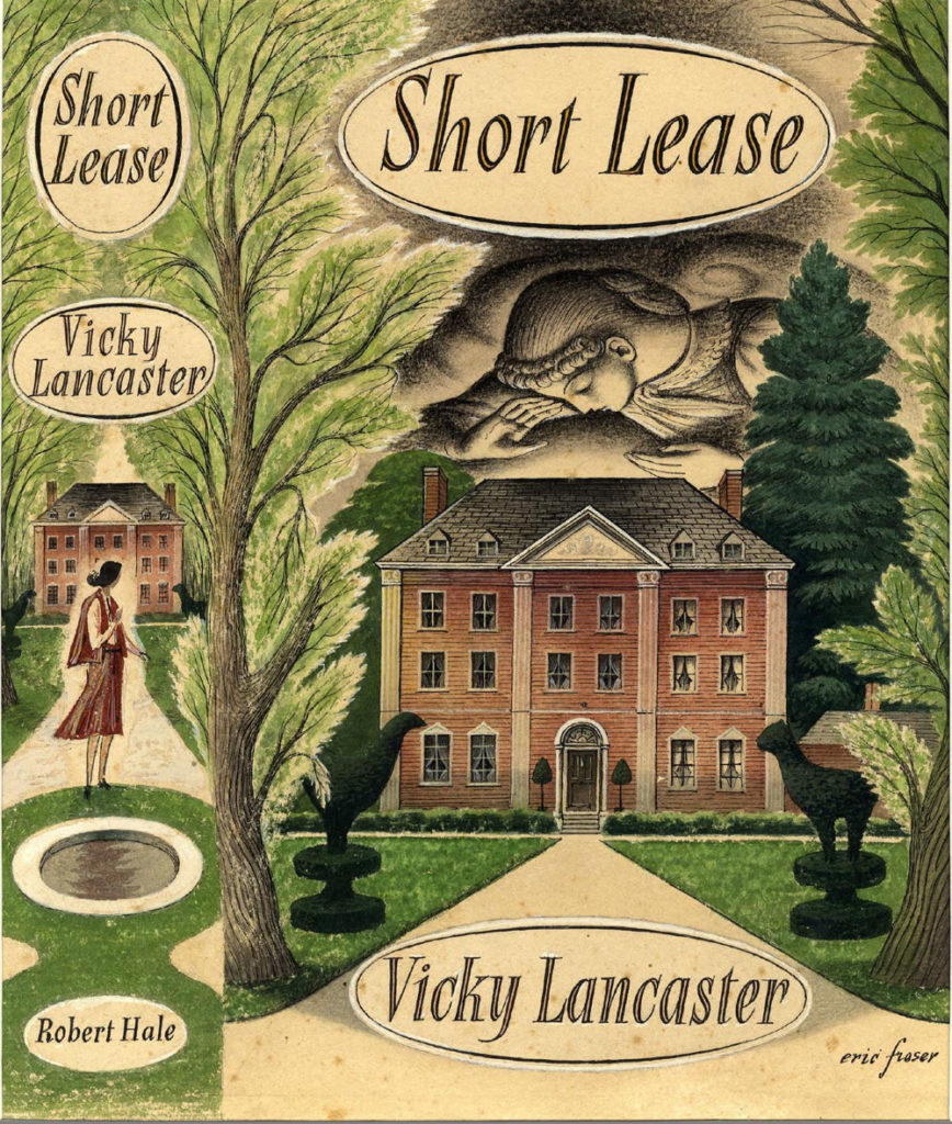 illustrated book sleeve showing image of country house