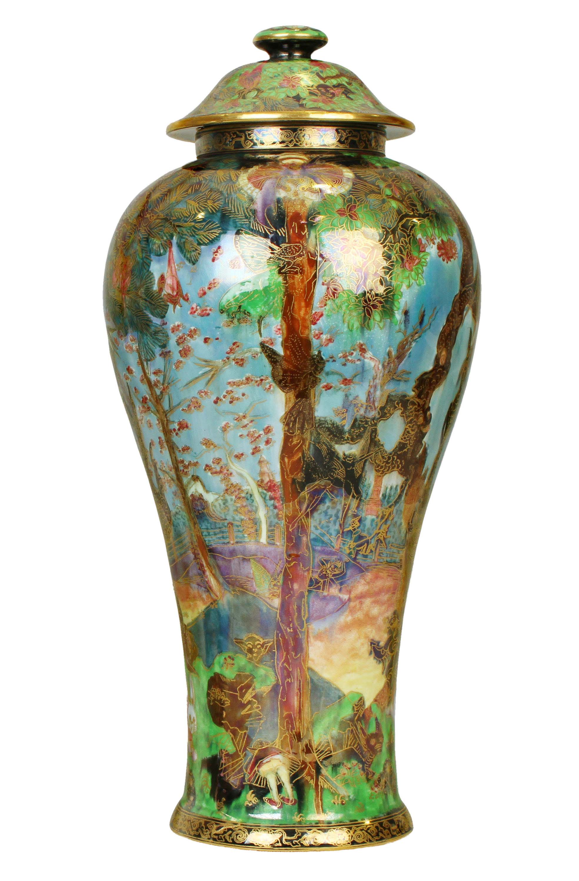 a large Chinese style vase with impressionistic colorful pattern