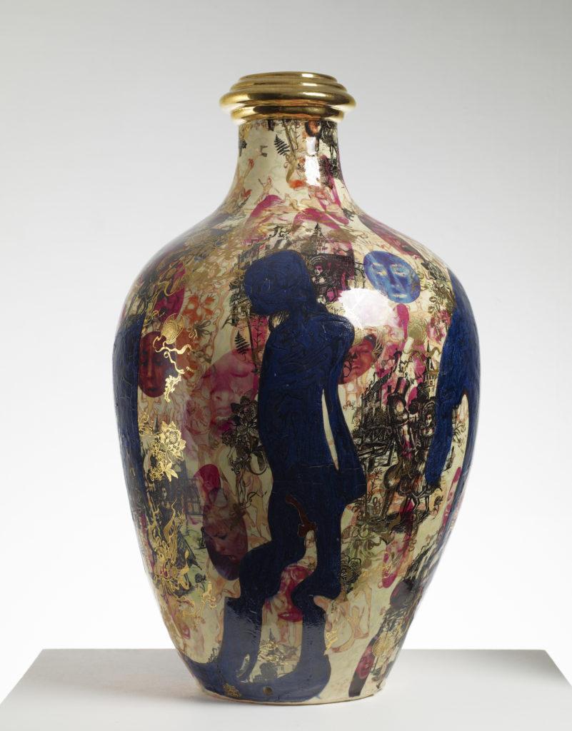 Large multicoloured vase