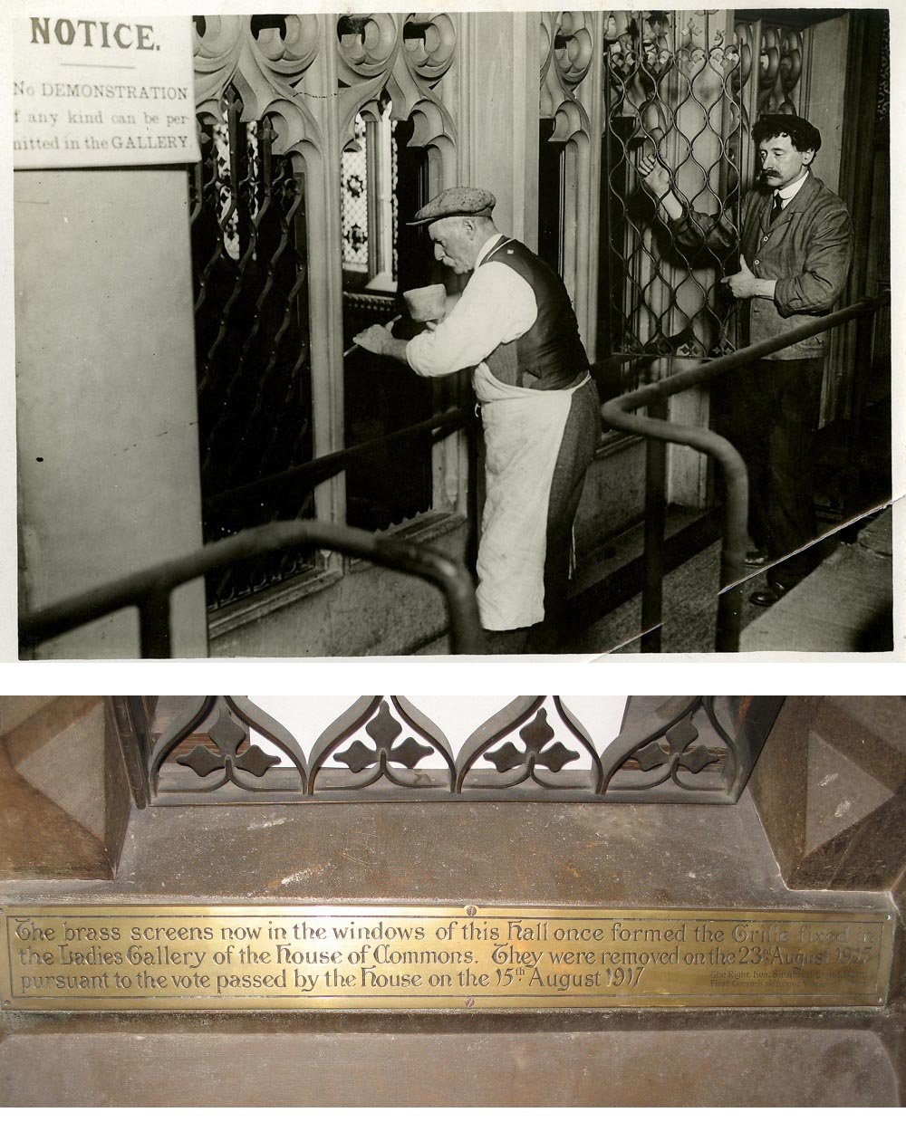 a composite photo showing a man with a moustached removing iron grilles and a photo of a brass plaque next to a grille set in a stone window