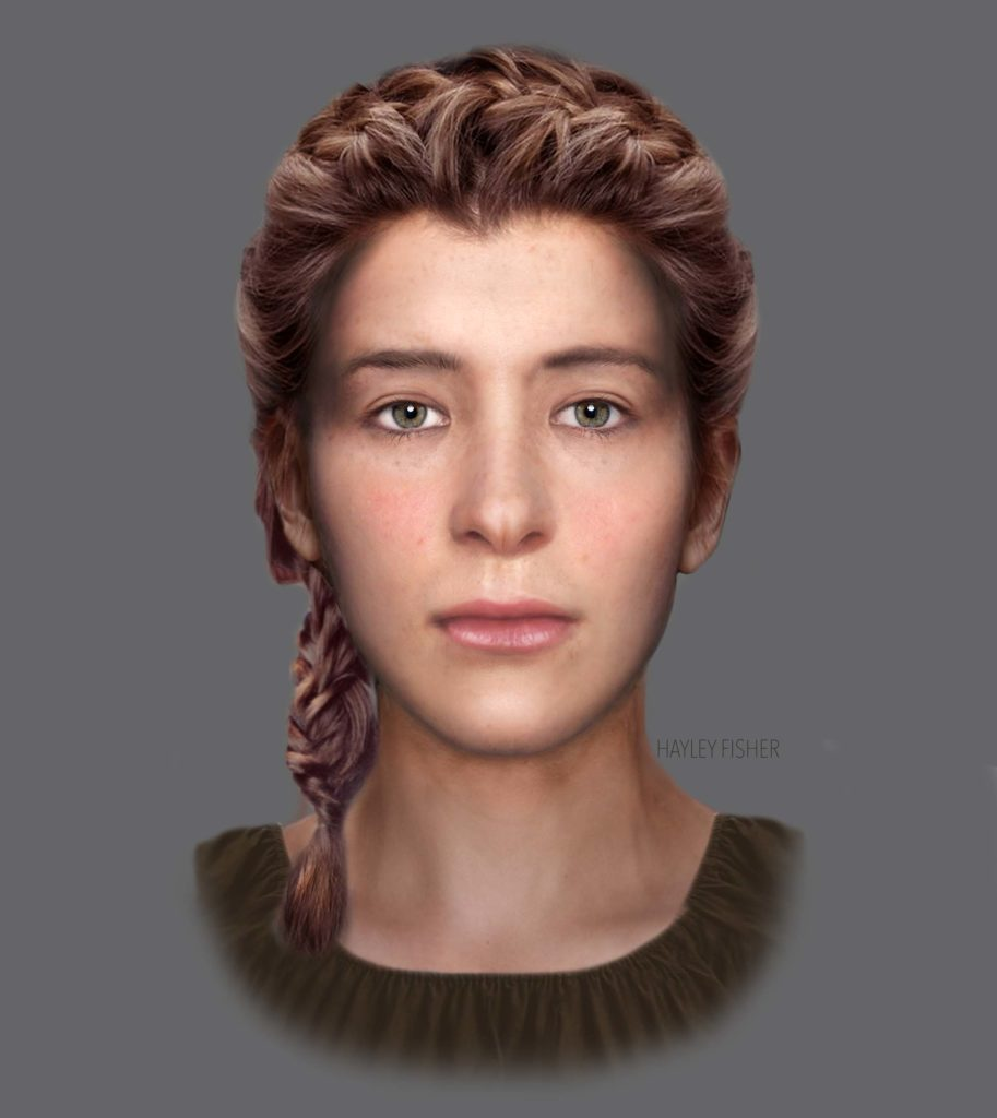 a reconstructed face of a young woman with light brown hair and hazel eyes