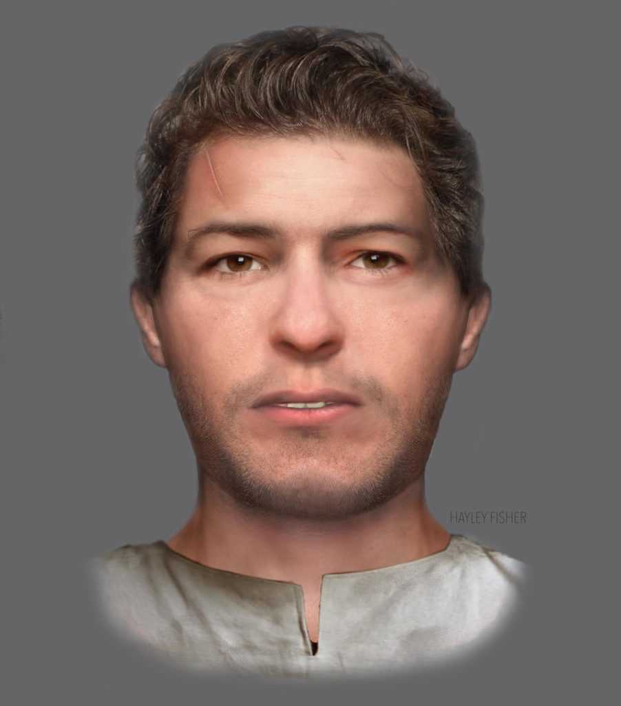 a reconstructed face of a warrior with short hair and a scar on his forehead