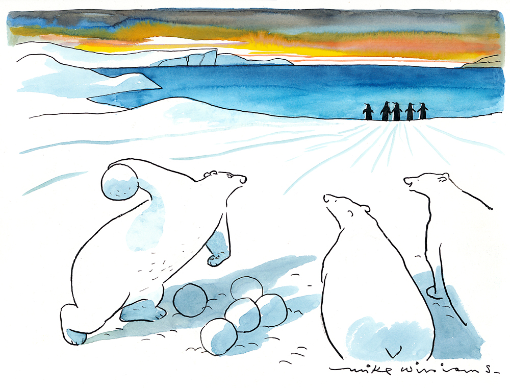 drawing of three polar bears with pile of snowballs - one polar bear is about to throw a snowball at a group of five penguins