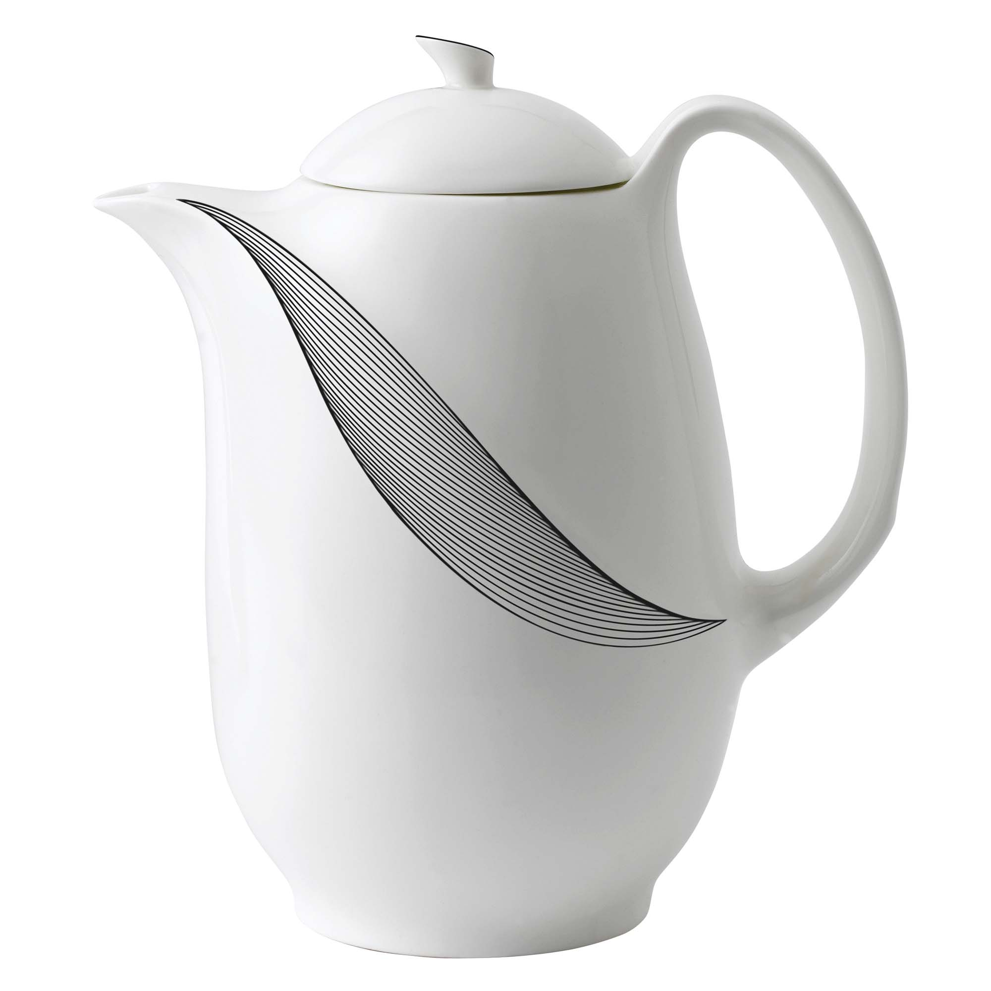 a photo of a white ceramic coffee pot with swirl pattern