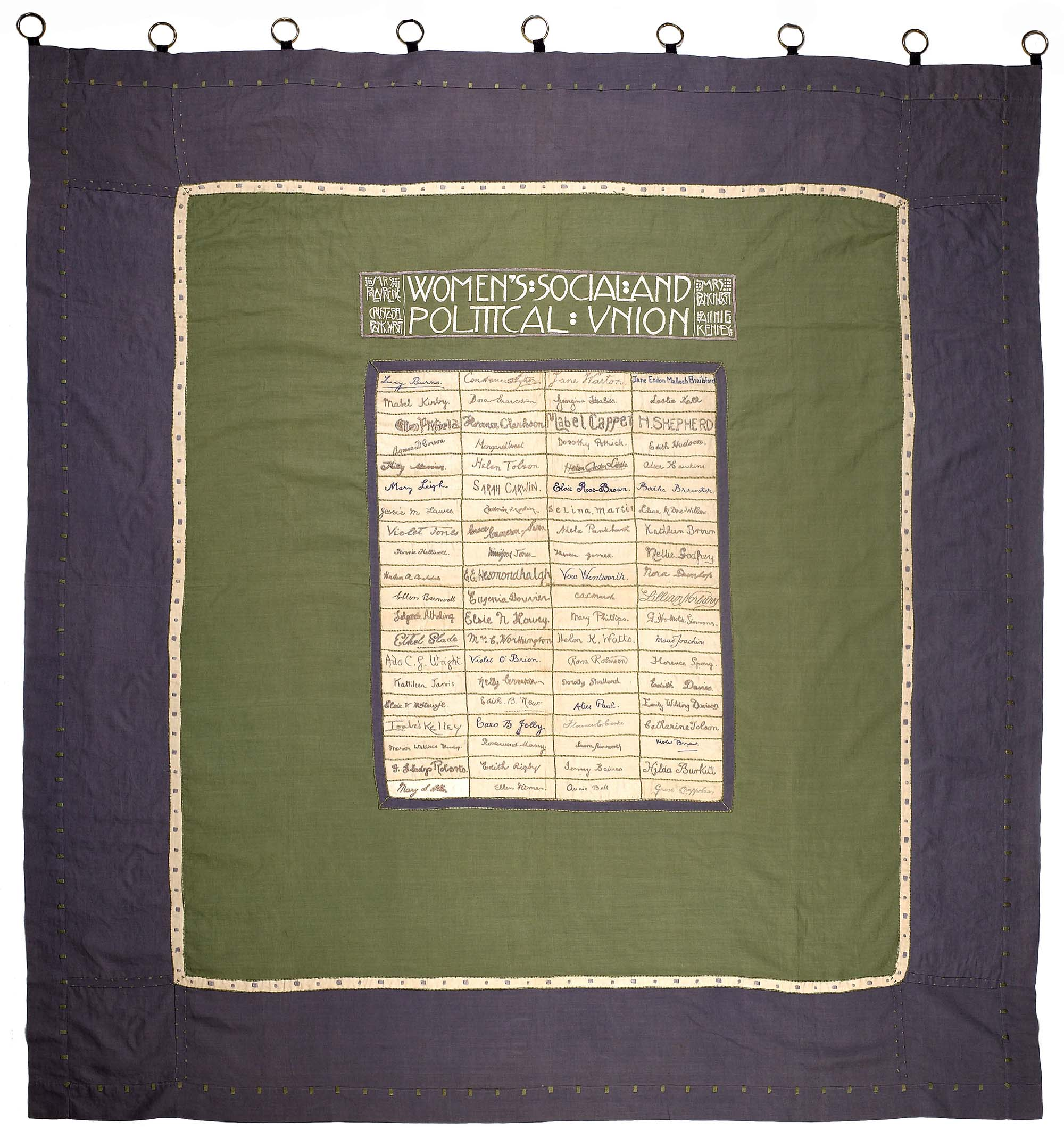 Rectangular. Purple, green and cream linen. Large rectangle pieced out of smaller rectangles, with the signatures of eighty women hunger-strikers embroidered in purple silk (a politicised version of the traditional 'friendship' quilt). 'Women's Social and Political Union' across the top in a Scottish art nouveau style. This banner was first carried in the From Prison to Citizenship procession in June 1910. It includes the embroidered signatures of 80 women