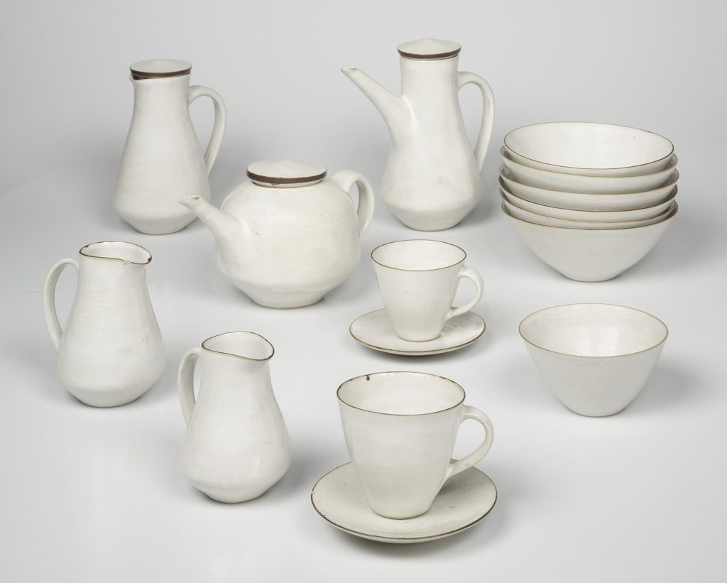 White ceramic breakfast set by Lucie Rie