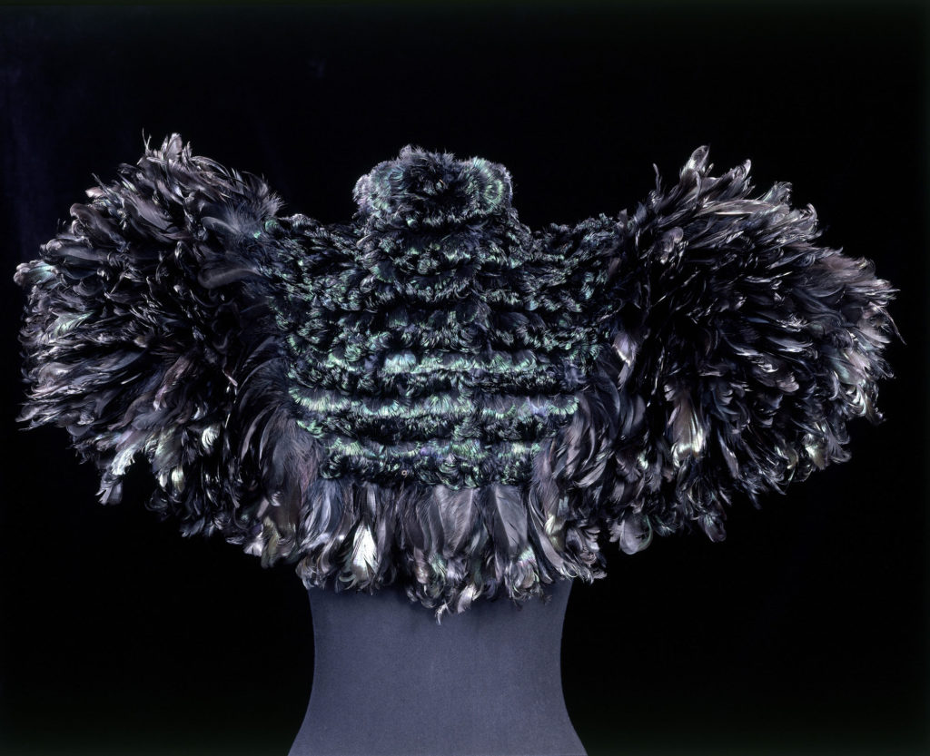 photograph of cape fashioned from peacock feathers