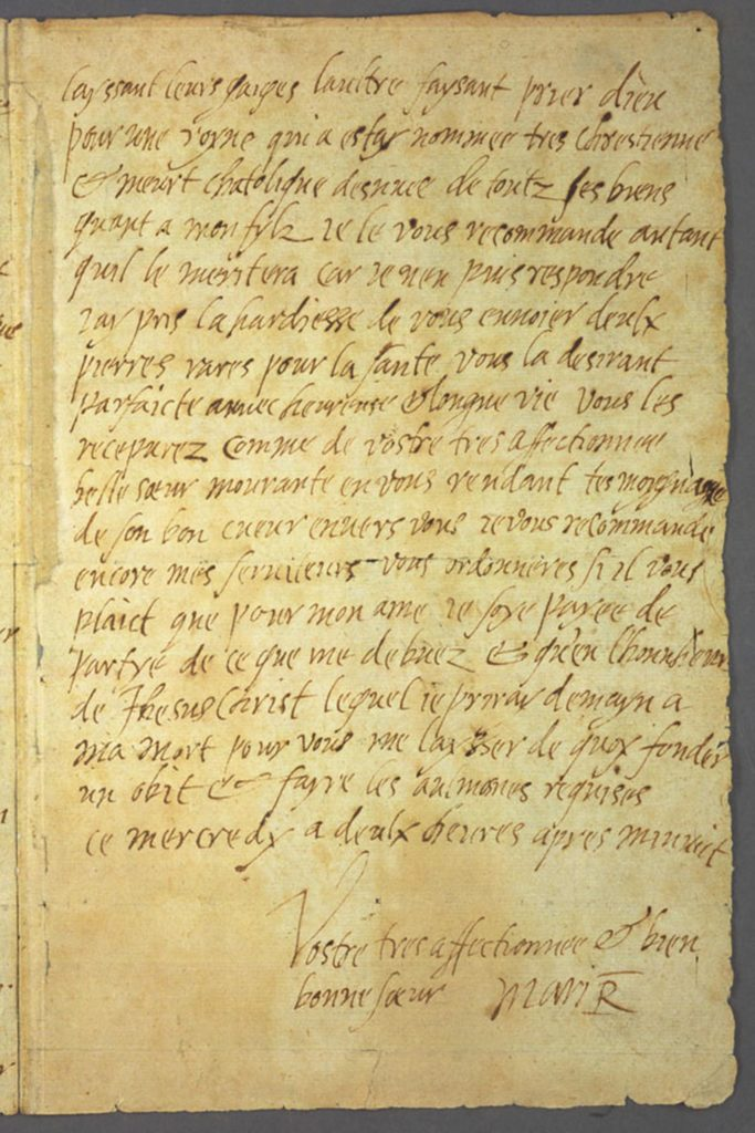Handwritten letter by Mary Queen of Scots