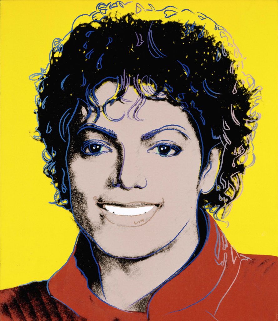 screen print image of michael jackson in red jacket on yellow background