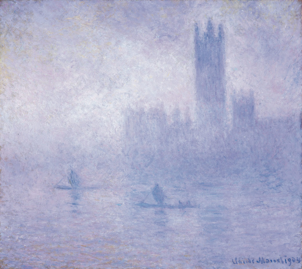 impressionistic painting in purple hue showing the Houses of Parliament in fog