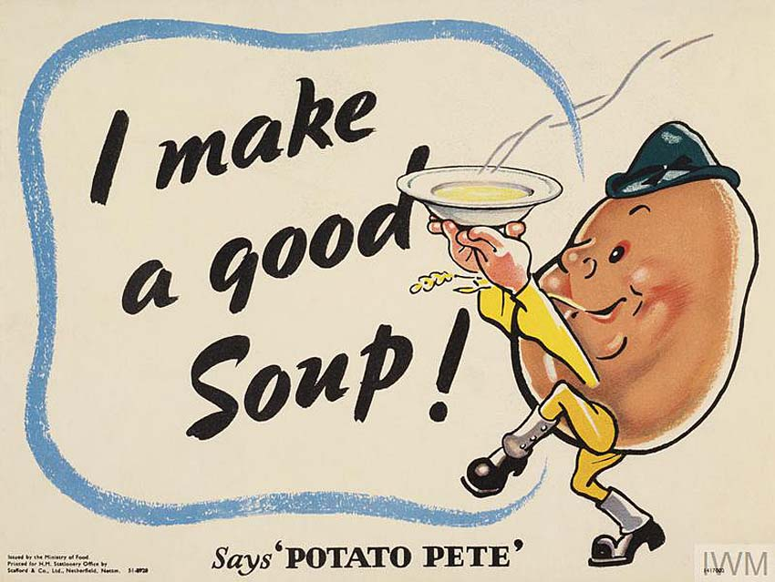 cartoon character Potato Pete holding aloft a steaming bowl of potato soup/ text: I make a good Soup! Says 'POTATO PETE'