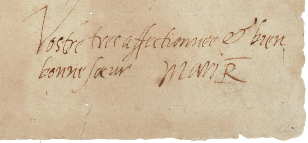 signature of Mary Queen of Scots