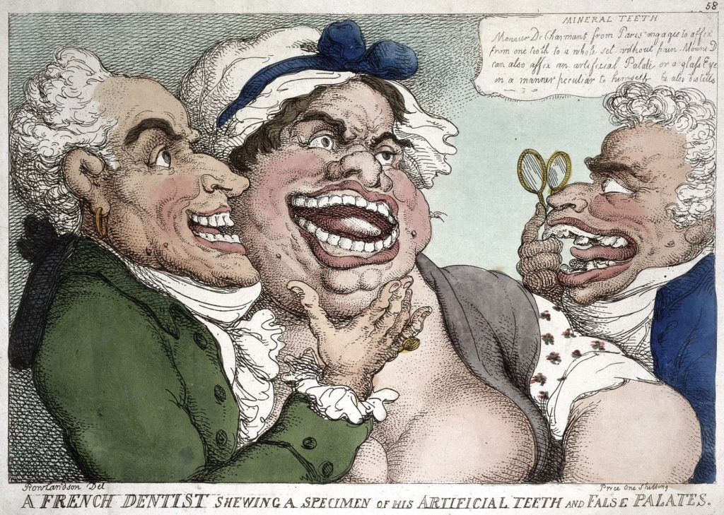 a caricature of two men inspecting the teeth of a ;large woman