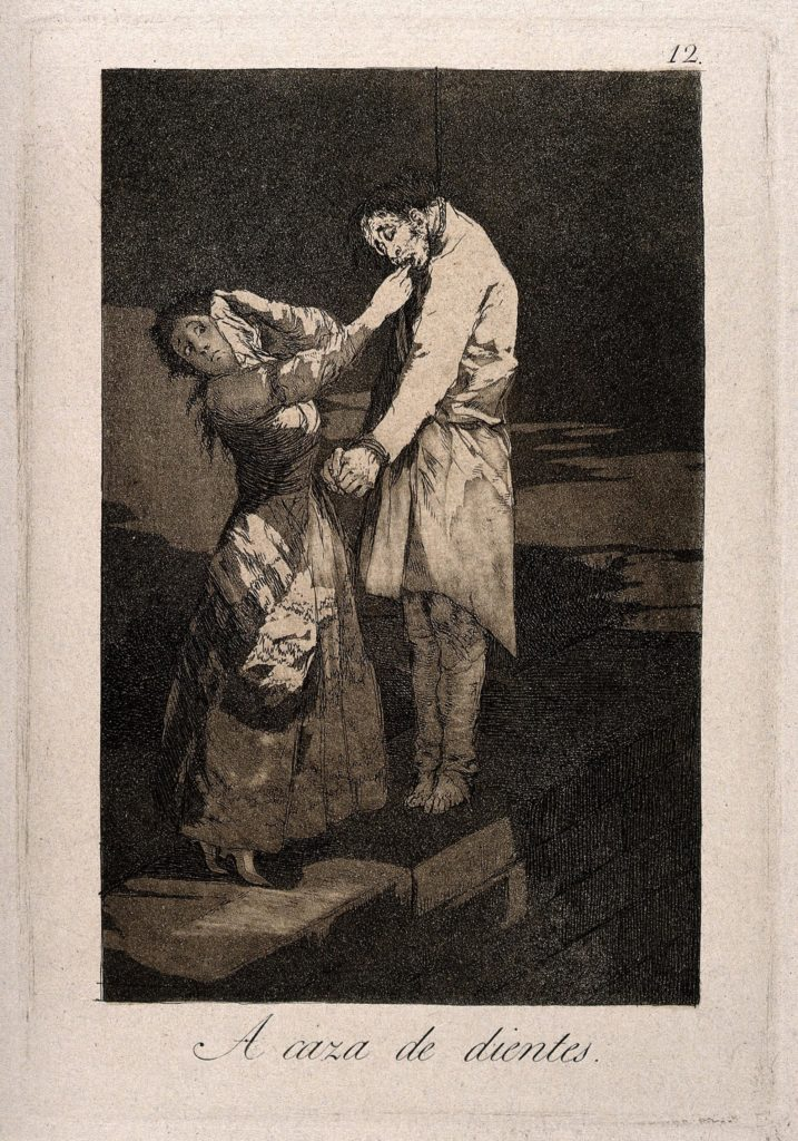a print showing a woman taking teeth from a hanged man