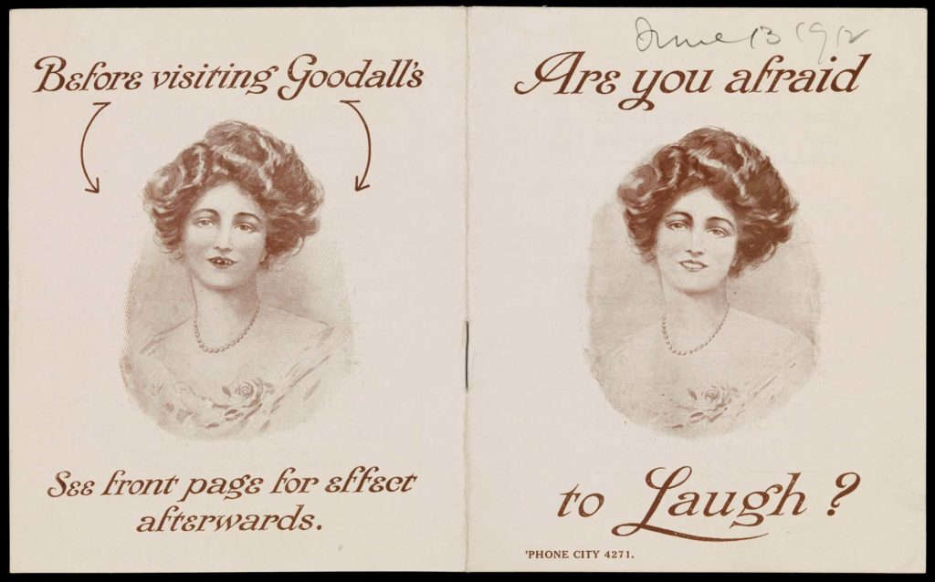 a photo of a small pamphlet showing a before and after drawing of a woman with bad teeth and nice teeth
