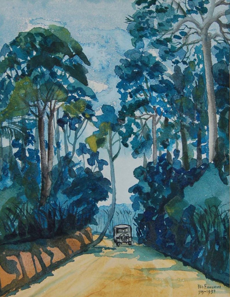 a watercolour of a truck driving down a tree-lined lane