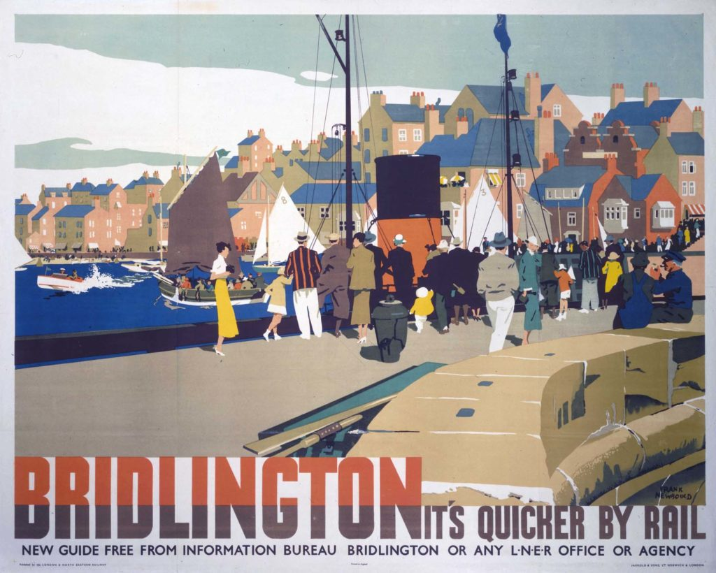 The poster shows a crowd strolling and looking at the boats on the water. The town is visible in the background