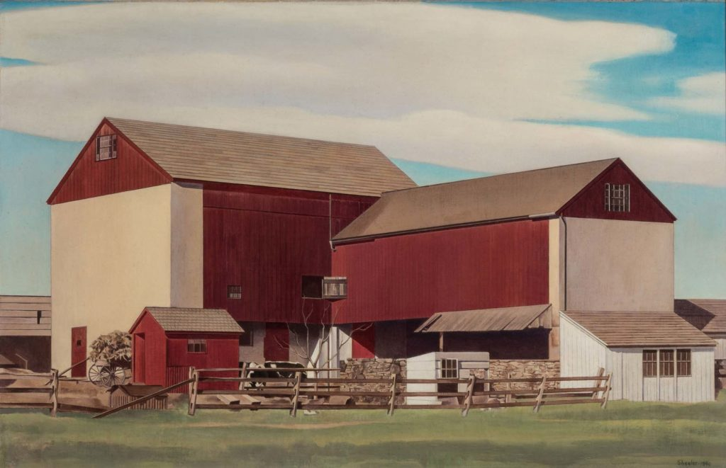 a painting of a large scale American barn
