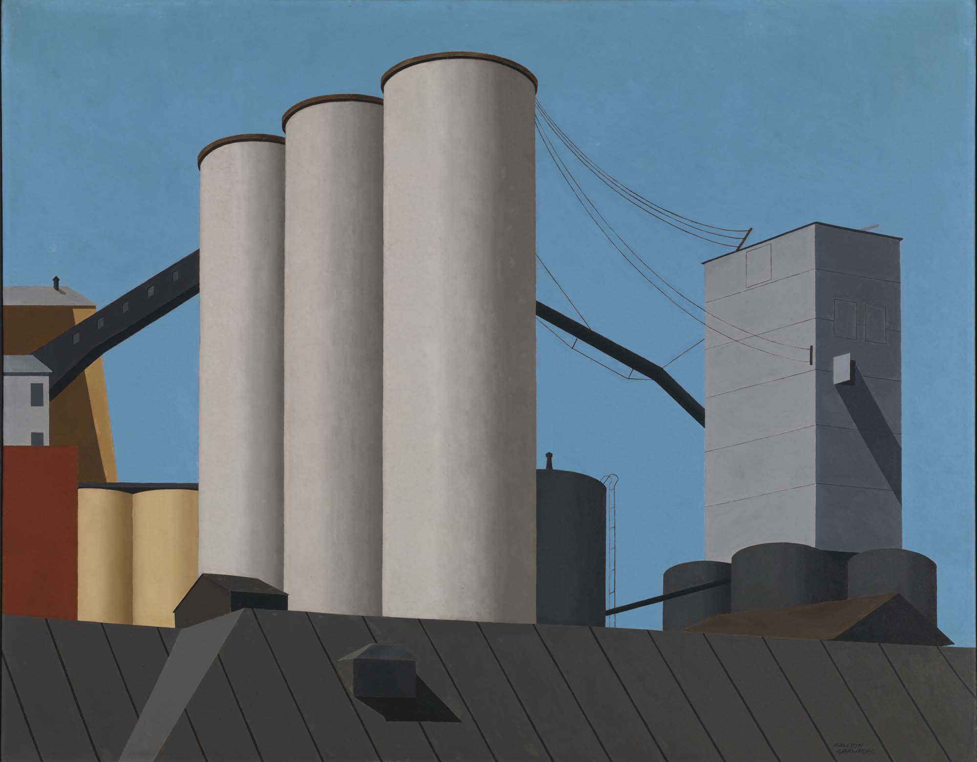 a painting of a trio of towers and a grain store against a blue sky