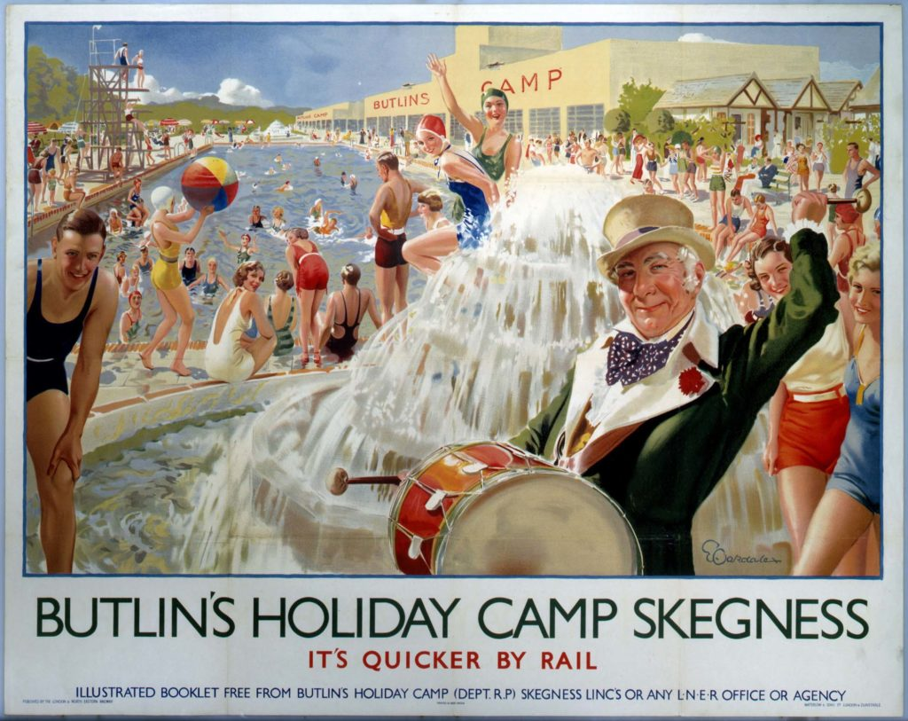 A poster showing an action-packed view of a throng of people enjoying themselves in and around a huge swimming pool at Butlin's Camp, with a water feature and man beating a drum in the foreground.