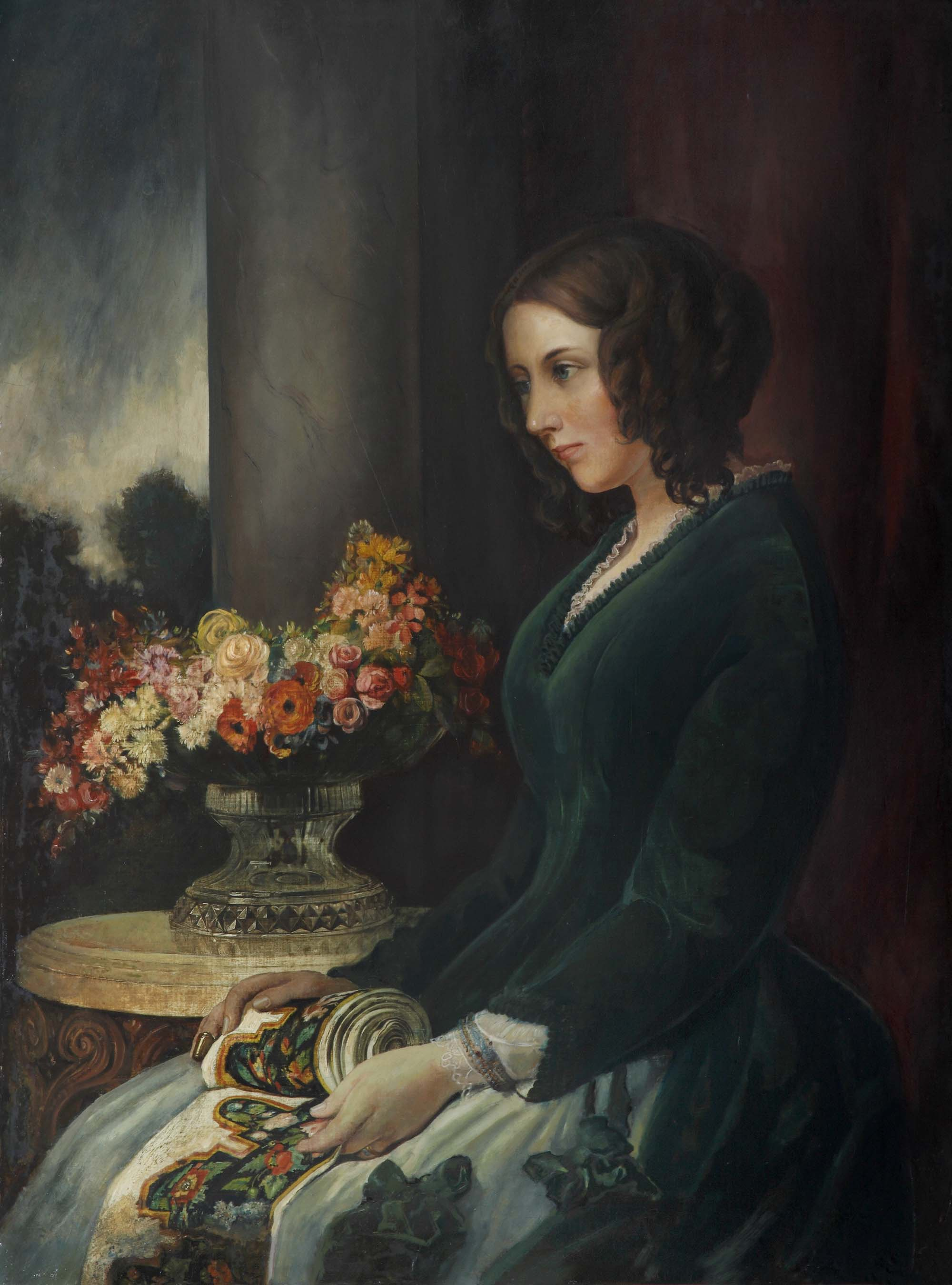 a painting of a woman with dark hair and a dark green dress