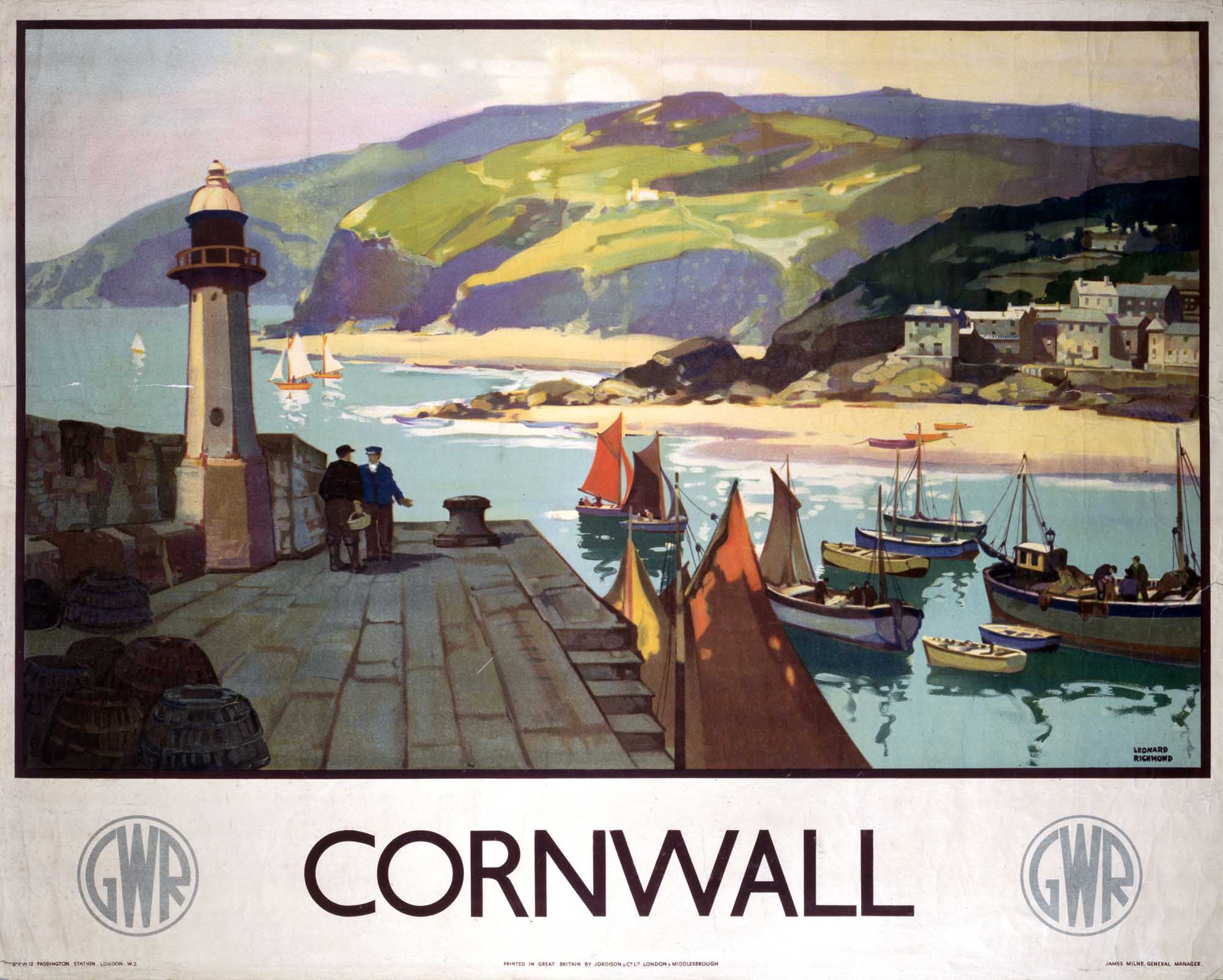 a poster with a Cornish harbour scene