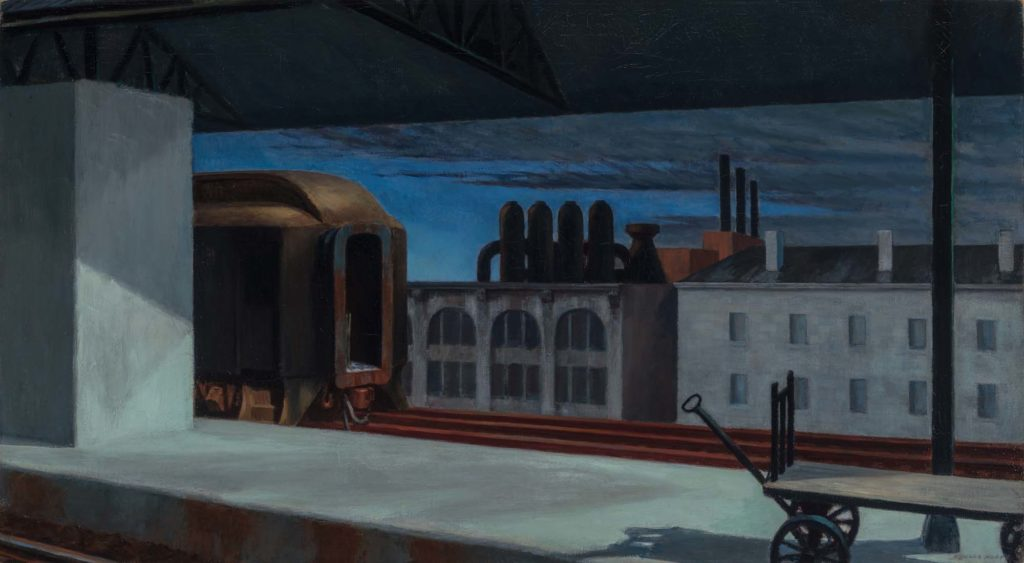 a painting of a city night scene across rooftops