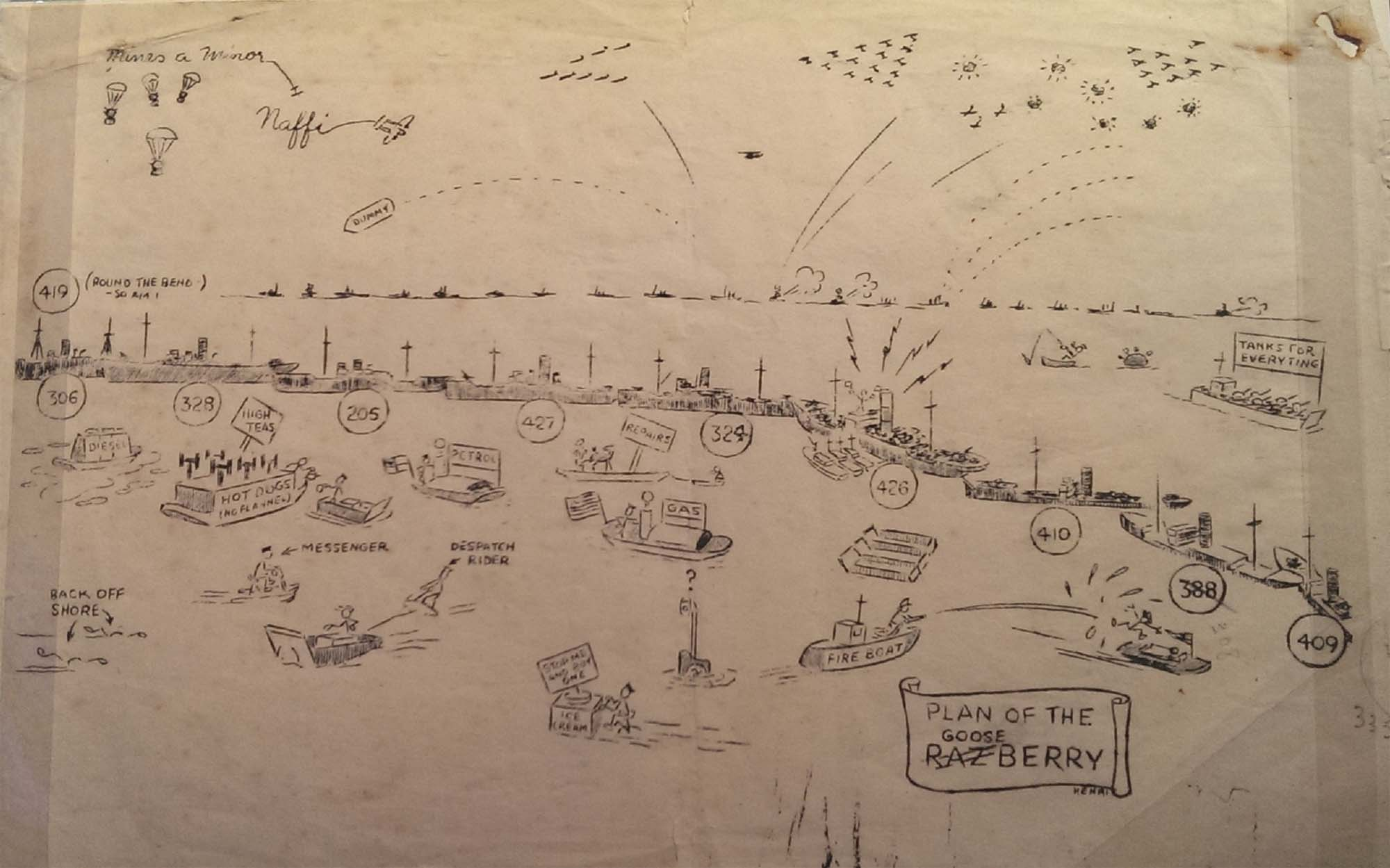 a cartoon drawing of the Mulberry Harbours at Normandy