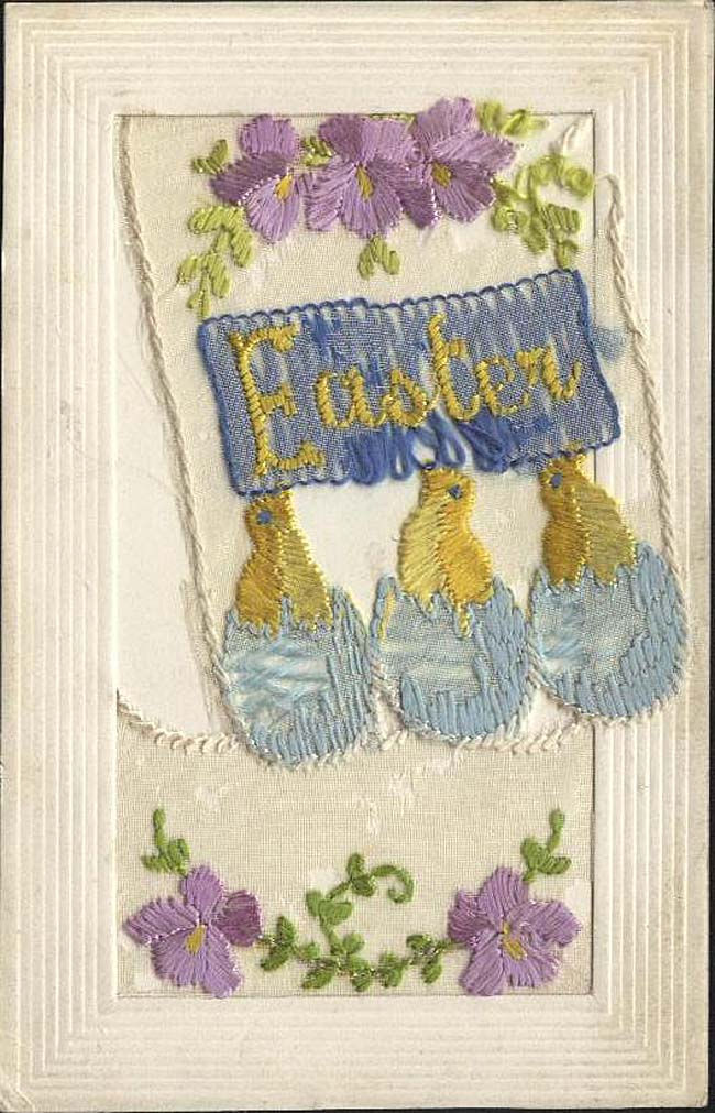 Embroidered postcard with three little chicks in eggs