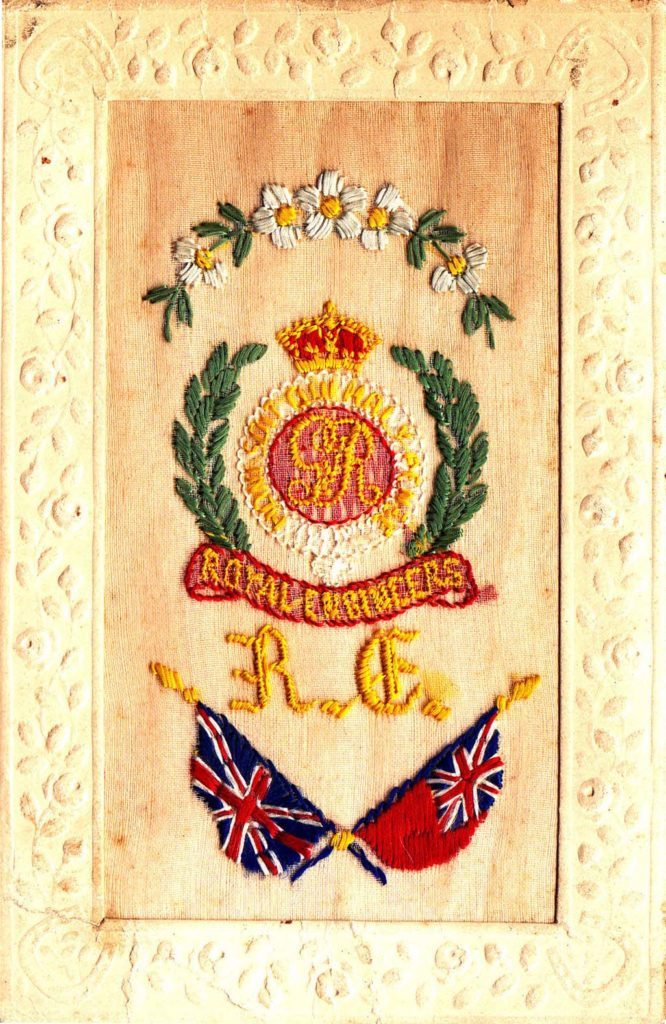 an embroidered postcard with a Royal Engineers badge and crossed flags