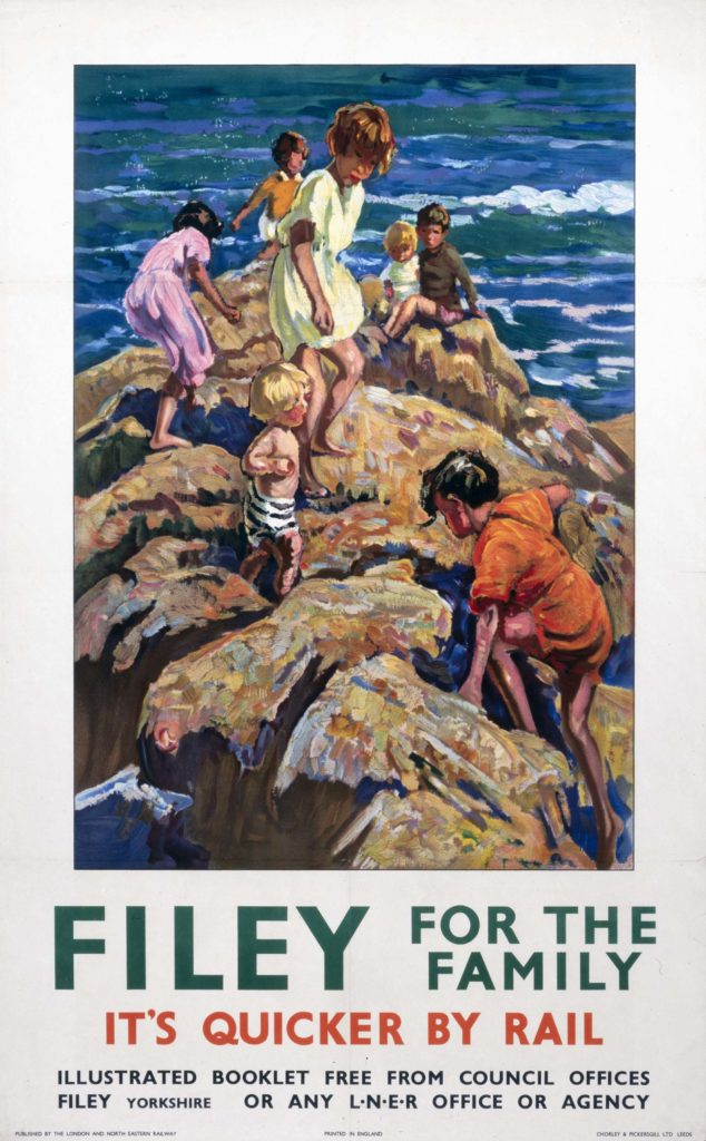 poster showing children clambering on rocks at the water's edge.