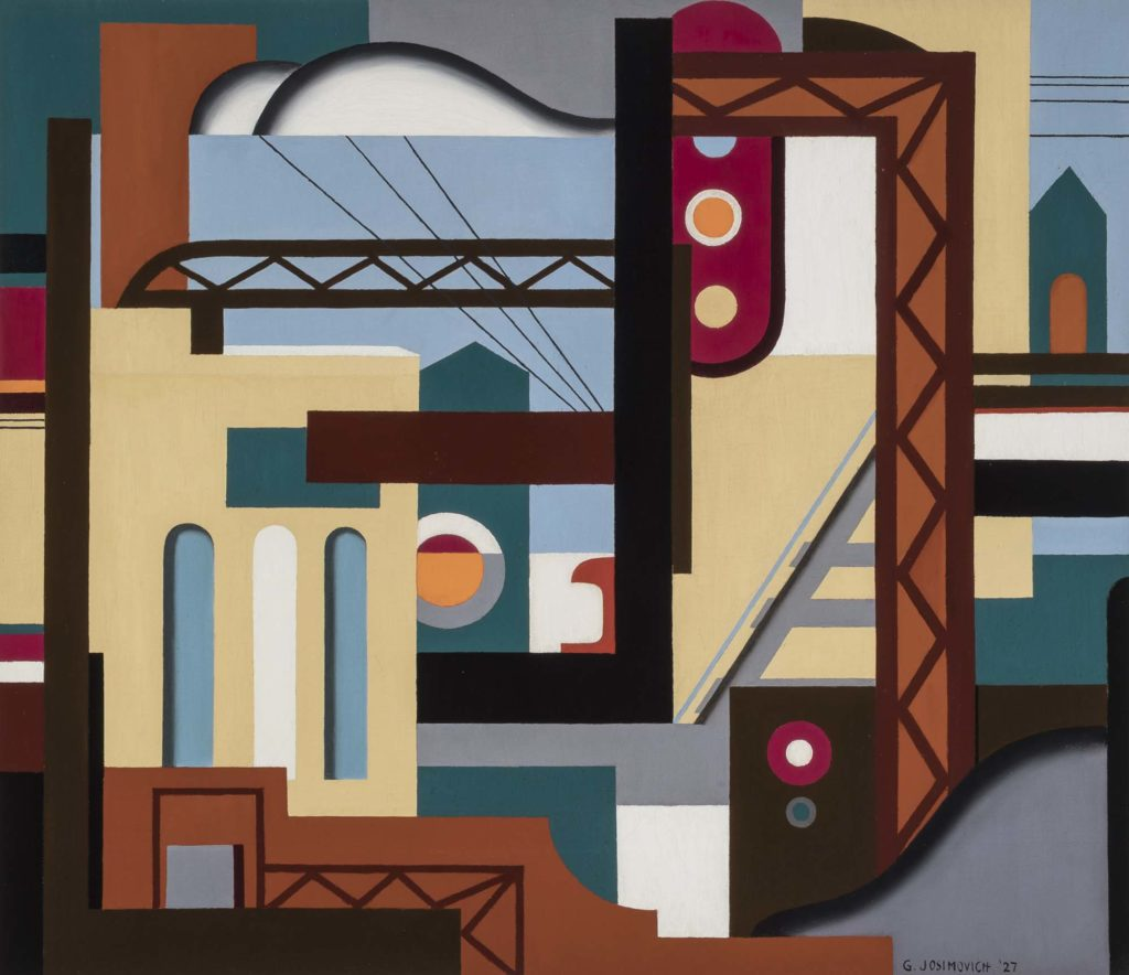 an abstract painting with steel girder motifs and skyscrapers