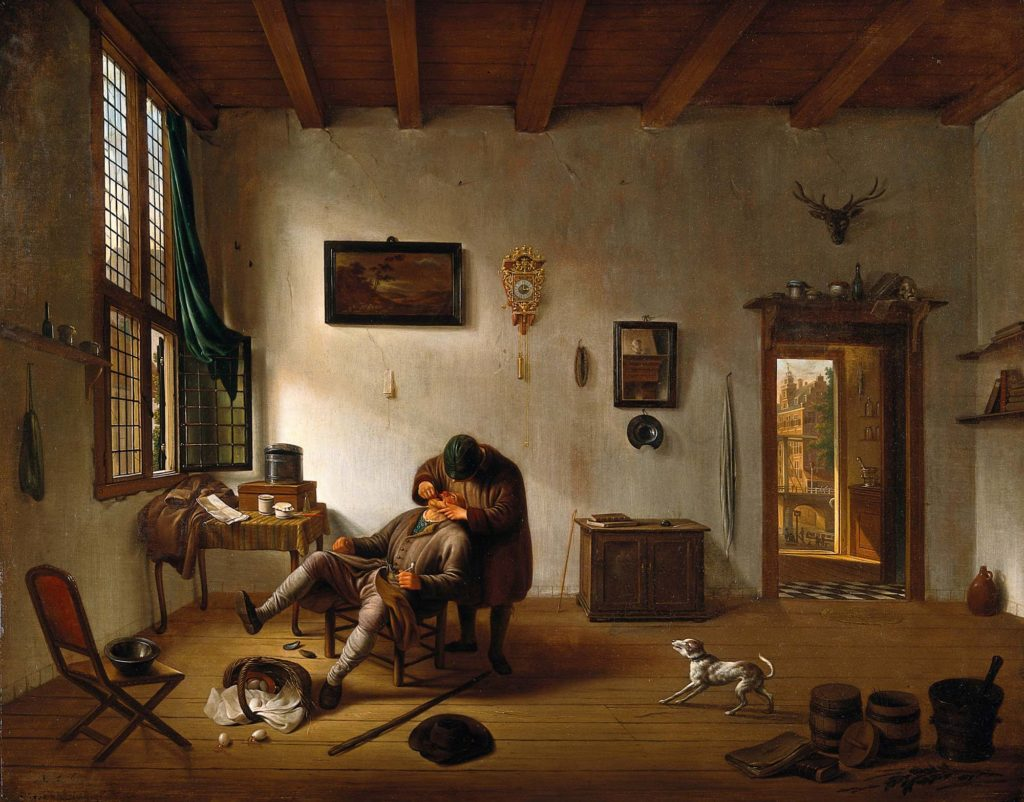 a seventeenth century Dutch interior owht a man having his teeth pulled