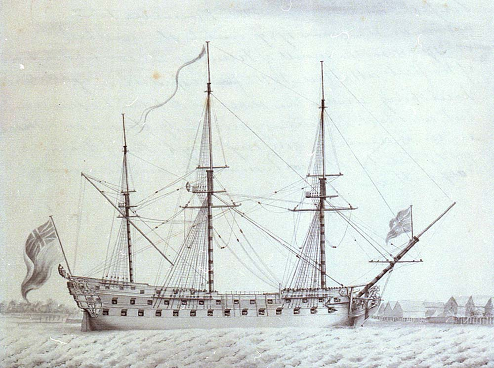a drawing of a sailing warship in side profile