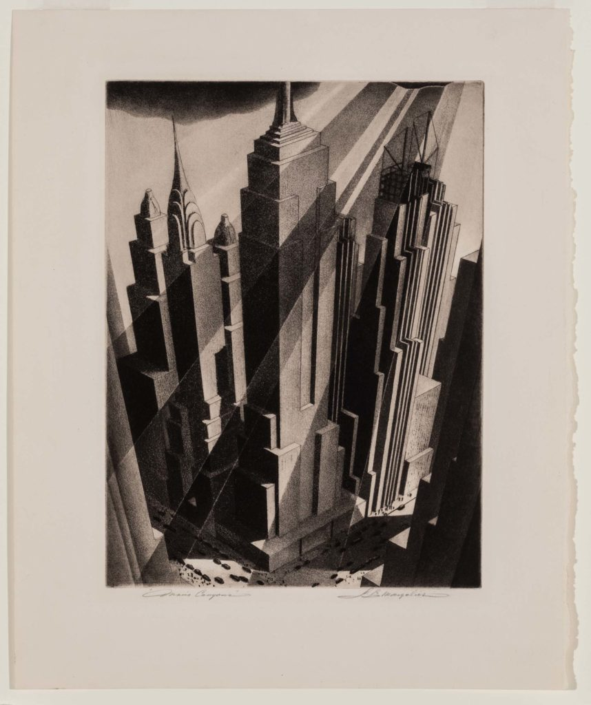 an etching of skyscrapers seen from above
