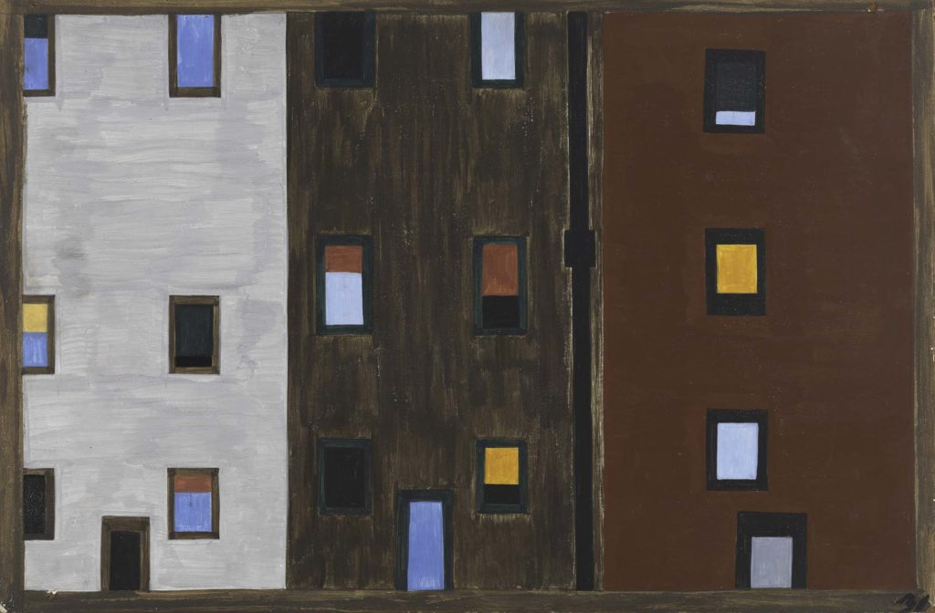 a painting in greys and browns of three high rise apartment blocks