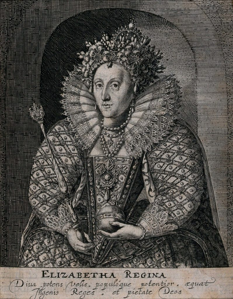 a black and white etching of Queen Elizabeth I