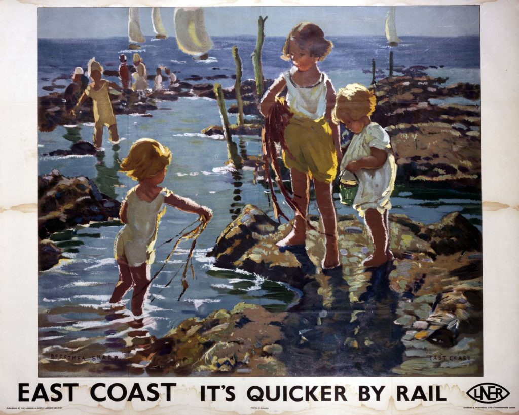 a poster with painting of kids rockpooling