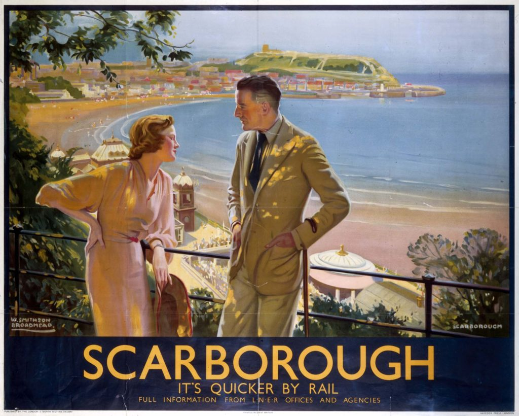 a poster with a couple overlooking Scarborough South Bay from above the Spa