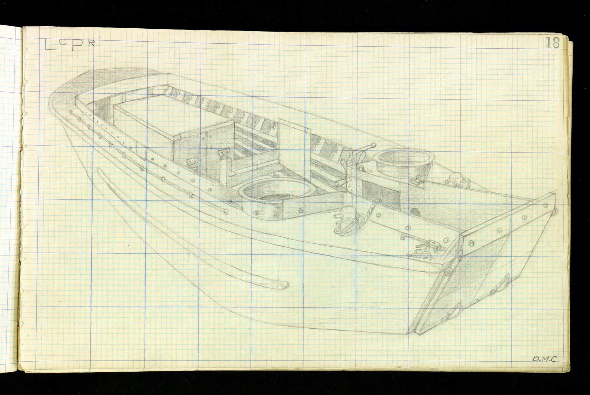 a pencil drawing of a landing craft