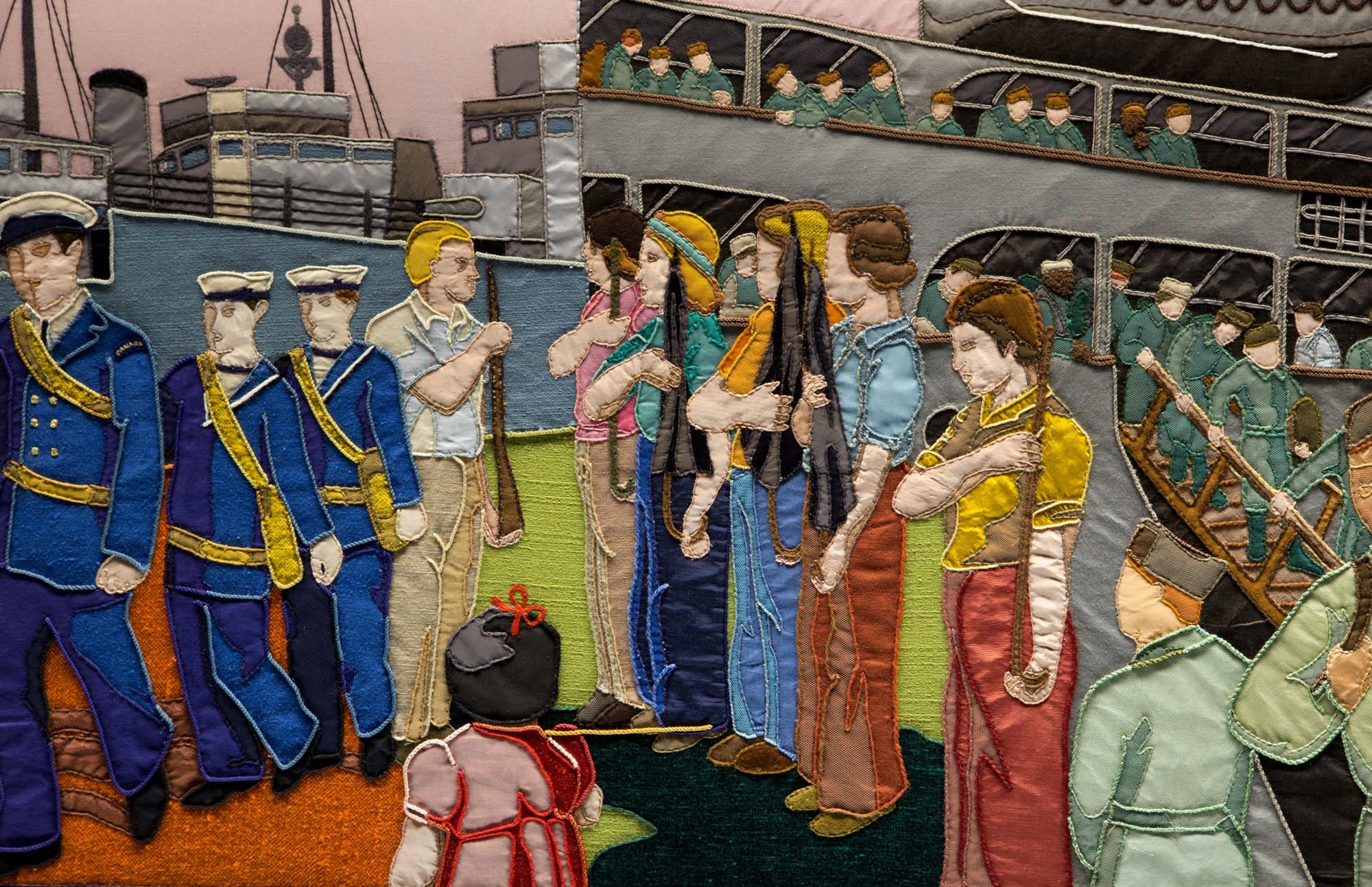 A panel from the Overlord embroidery showing embarkation of soldiers and sailors