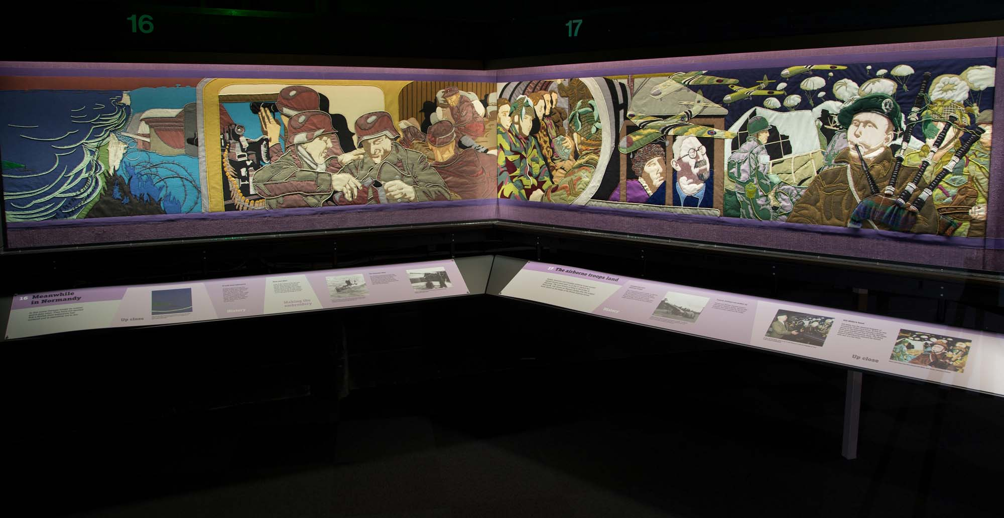 a photo showing several panels of the Overlord embriodey at the D-Day Story Museum, Portsmouth