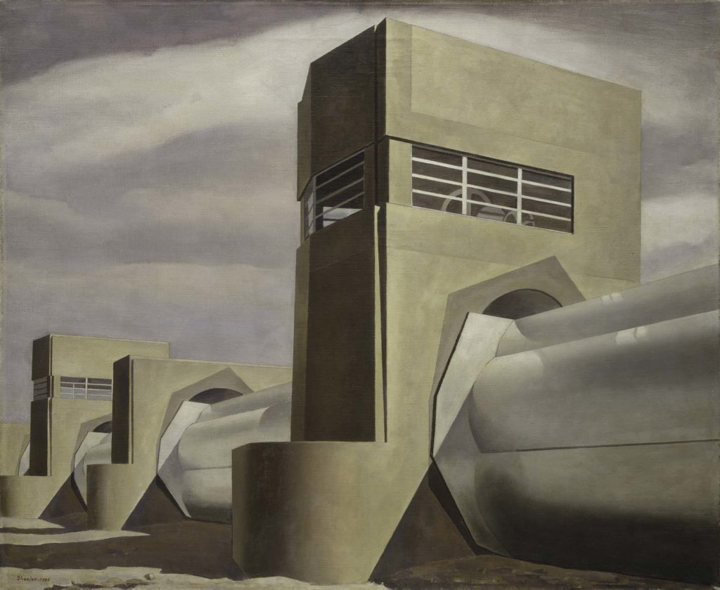 a painting of water plant with huge steel tubeways running through concrete towers
