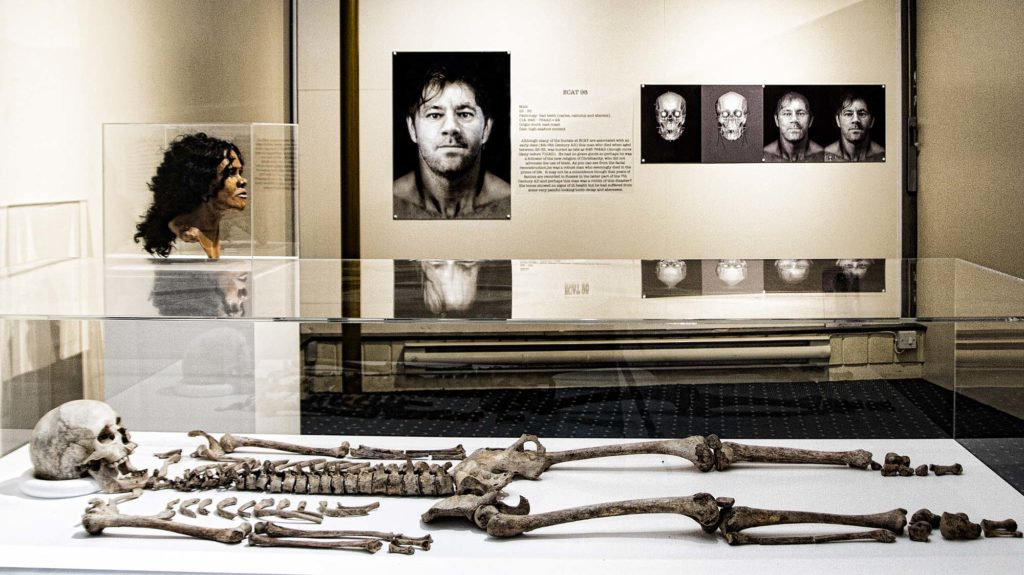 a photo of a display case with a skeleton and other photos displayed