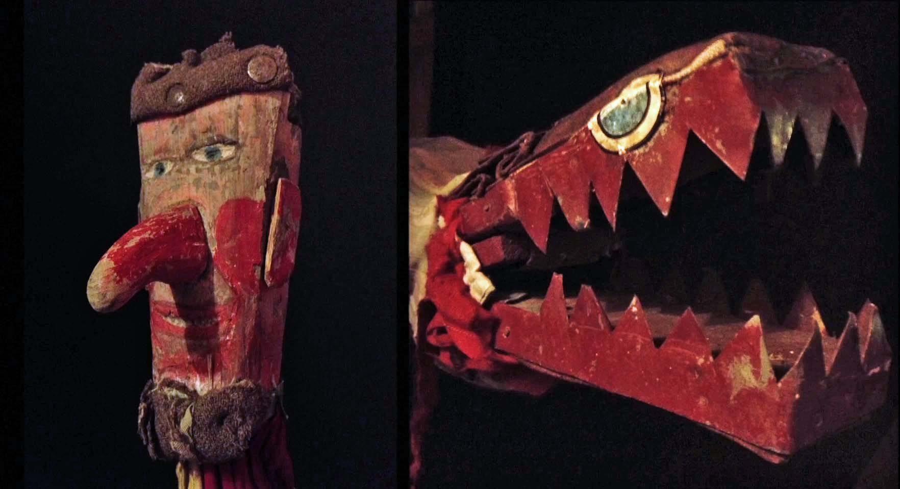 a photo of a wooden head and crocodile style puppet