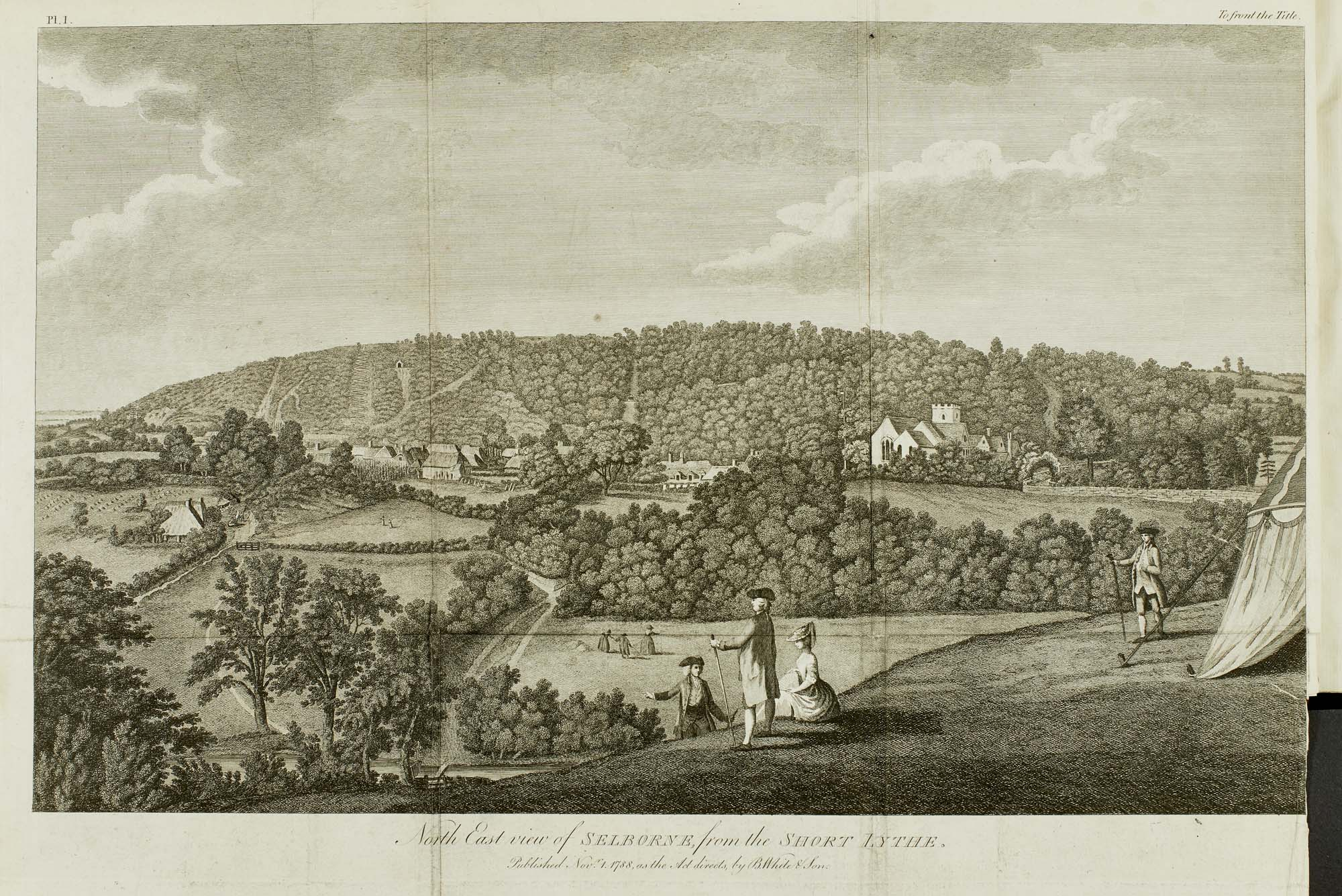 a print of a view across fields and wooded hillsides