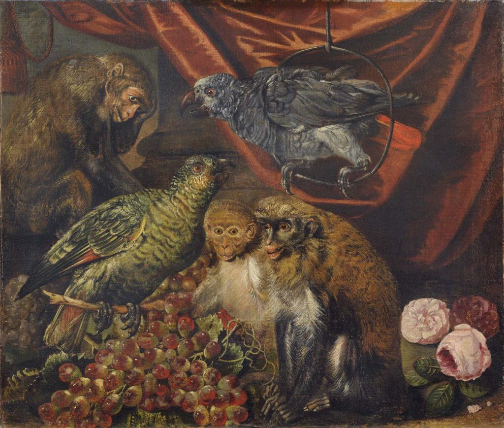 a detail of a painting showing parrots and monkeys